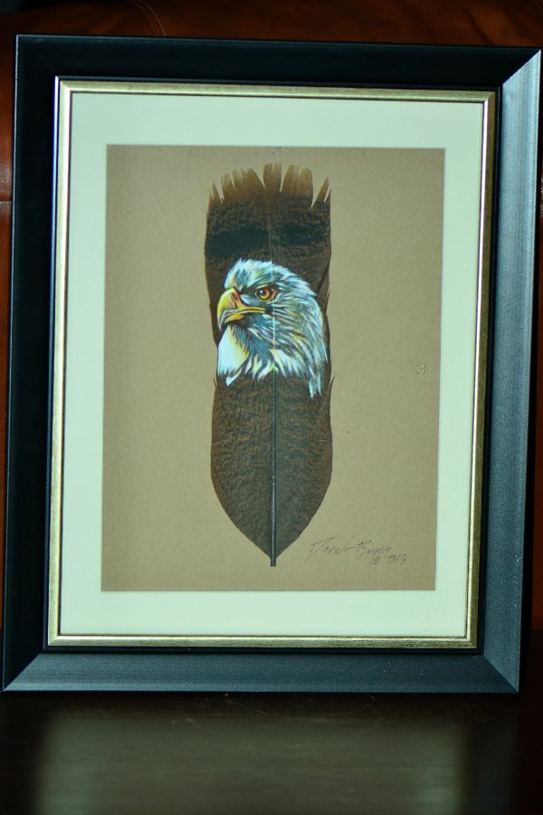 Navajo/Northern Paiute � Hand Painted Eagle Feather by Donovan Begay