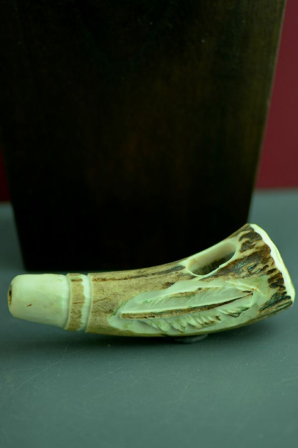 Hand Carved Natural Shed Antler Prayer Feather Pipe by Two Bears, Southwest Artist