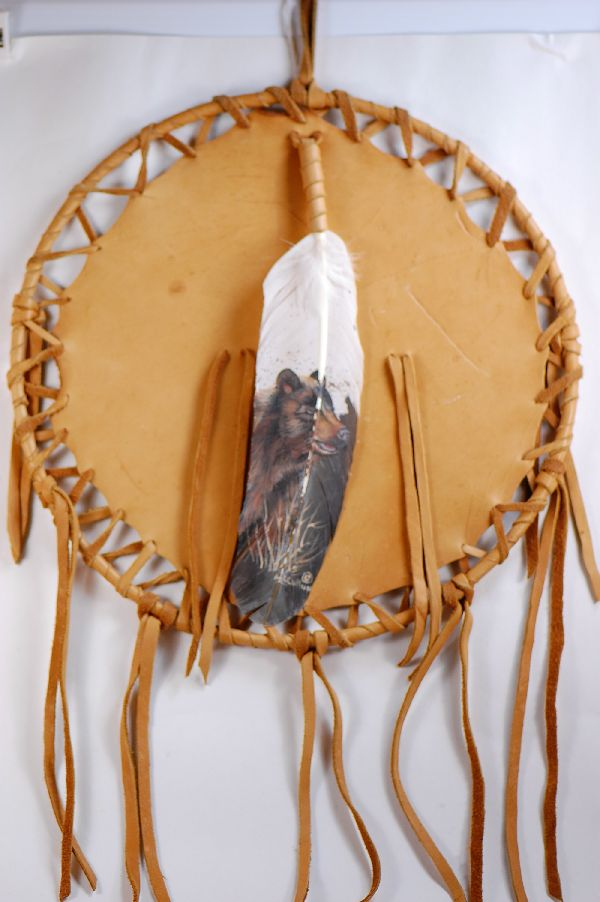 Navajo � Hand Painted Bear Feather on a Buckskin Shield