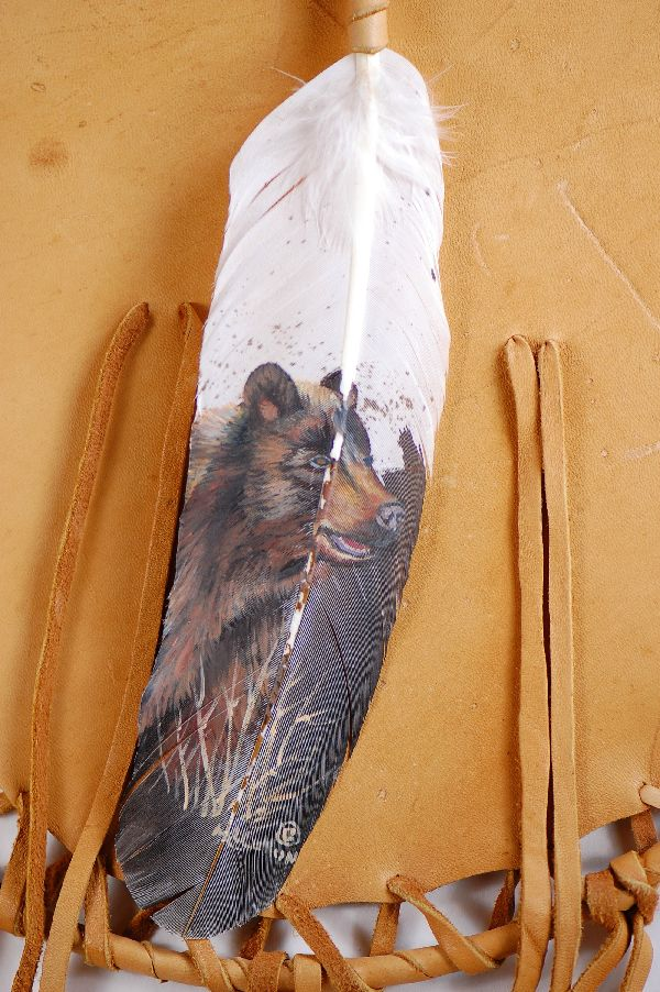 Navajo – Hand Painted Bear Feather on a Buckskin Shield