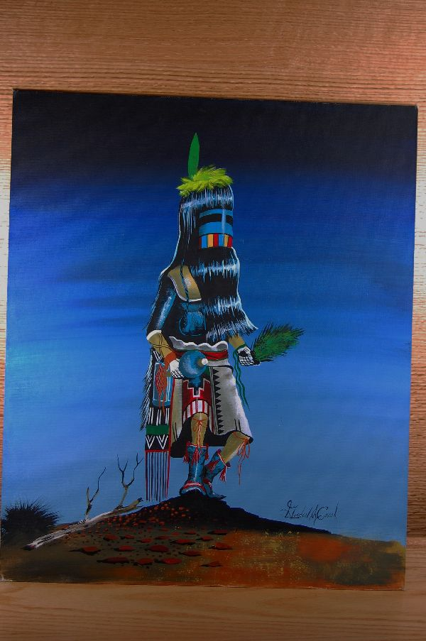 Navajo – Long Hair Kachina Acrylic Painting by Gordon E. Crook