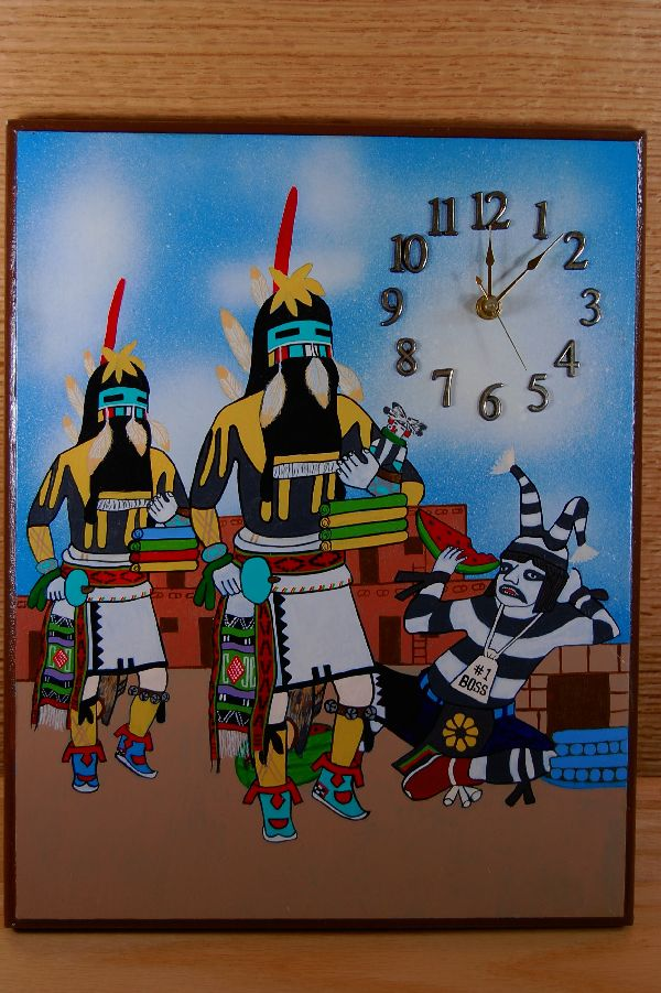 Hopi – Long Hair Kachina and Koshari Kachina Hand Painted Clock by Larry K. Sekaweseoma