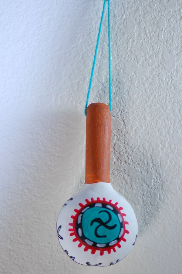 Hopi Gourd Rattle with Whirlwind Design