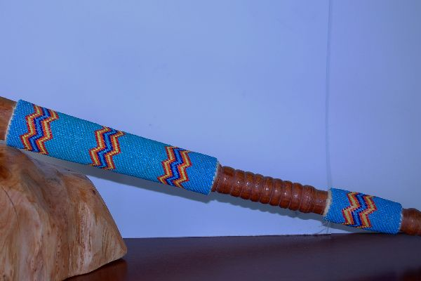Sioux Style Beaded Tomahawk Peace Pipe