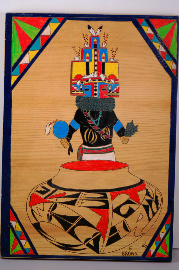 Acoma Pueblo � Ripened Corn Butterfly Kachina Wood Engraved Painting by E. Brown