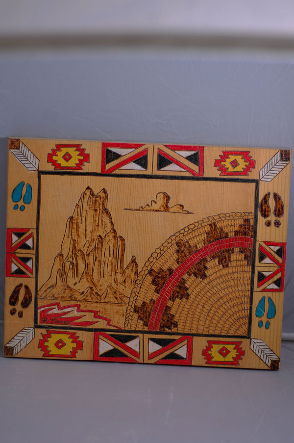 Acoma Pueblo � Wedding Basket/Mountain Wood Engraved Painting by K. Moore