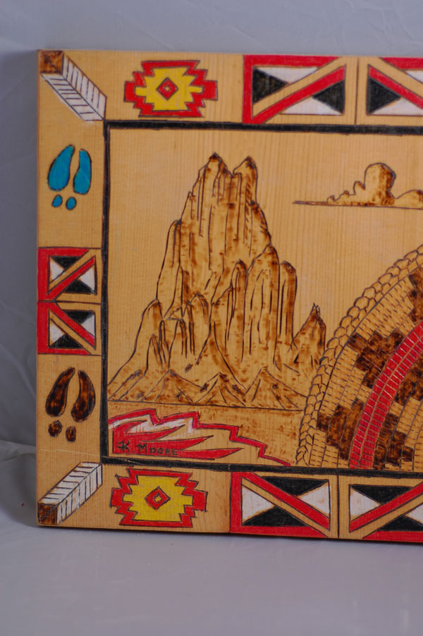 Acoma Pueblo – Wedding Basket/Mountain Wood Engraved Painting by K. Moore