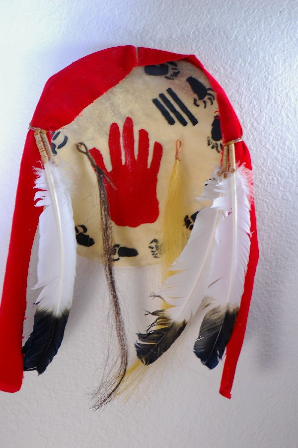 """Prairie Bird"" Hand to Hand Combat Shield with Red Trade Wool, Horsehair, Rawhide, and Feathers"