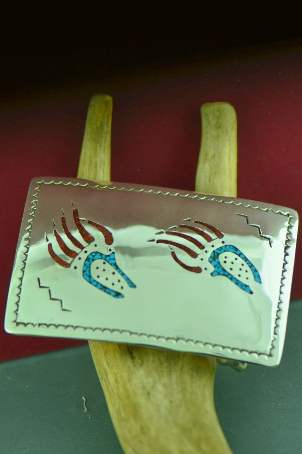 Navajo Sterling Silver Chip Inlay Turquoise and Coral Bear Paw Belt Buckle by Kee Begay