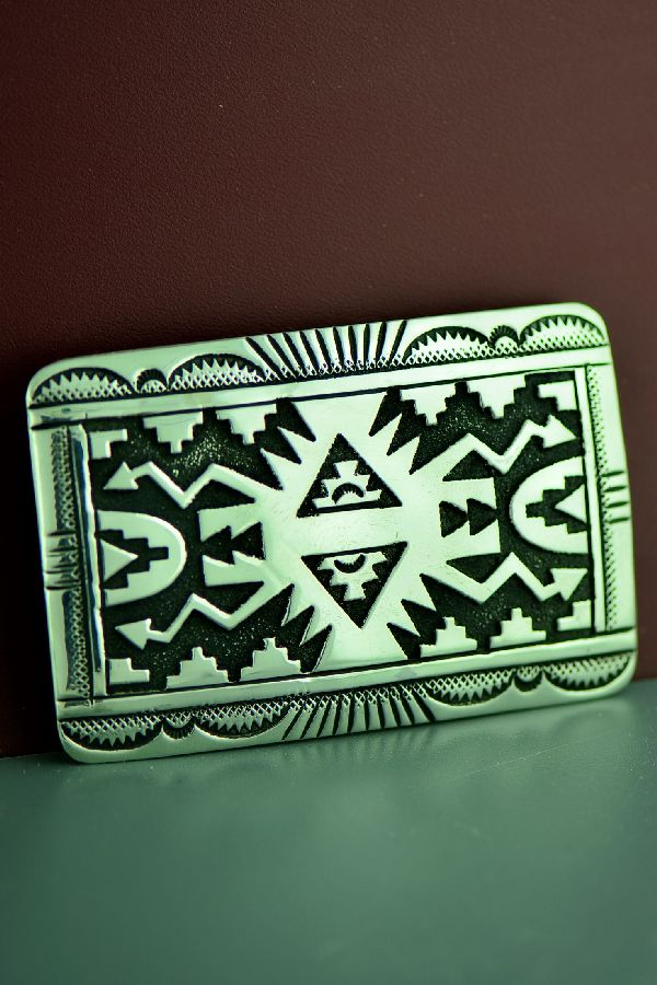 Navajo Sterling Silver Rug Design Belt Buckle by the late Tommy Singer
