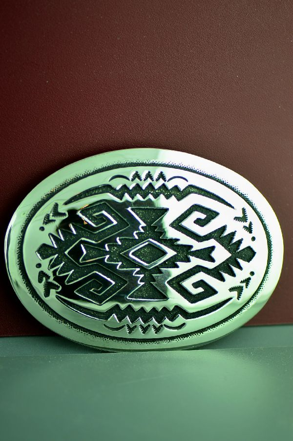 Navajo Sterling Silver Rug Design Belt Buckle by Rosita Singer