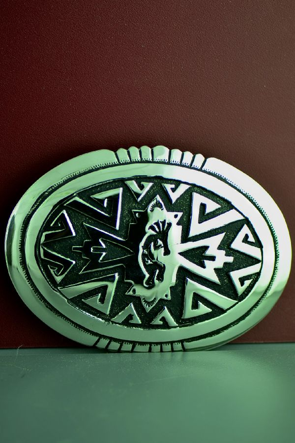 Navajo Sterling Silver Kokopelli Belt Buckle by Rosita Singer