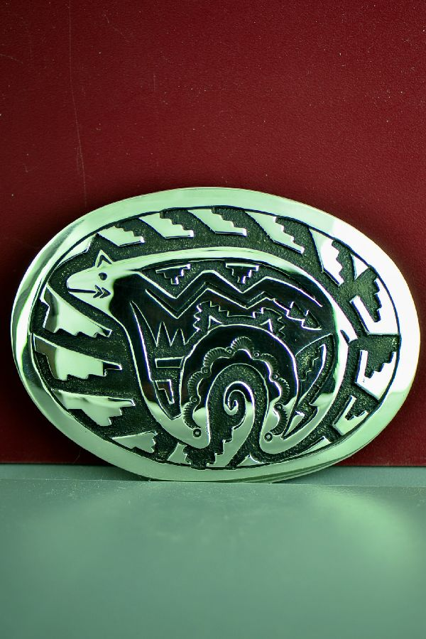 Navajo Sterling Silver Spirit Line Bear Belt Buckle by Tommy and Rosita Singer