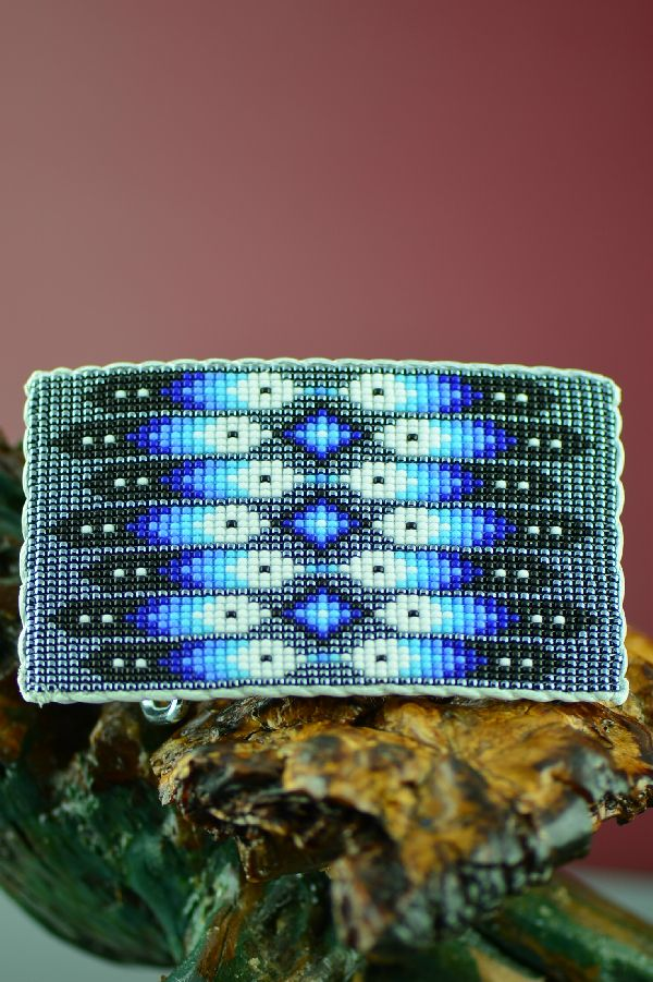 Navajo Beaded Prayer Feather Belt Buckle by Daniel Yazzie