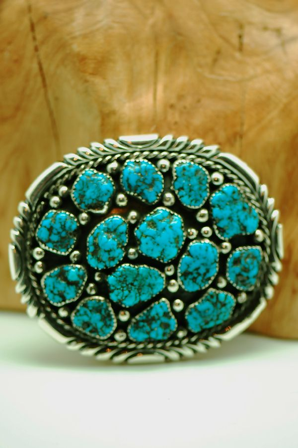Navajo – 14 Stone Natural Seafoam Turquoise Sterling Silver Belt Buckle by R. Begay