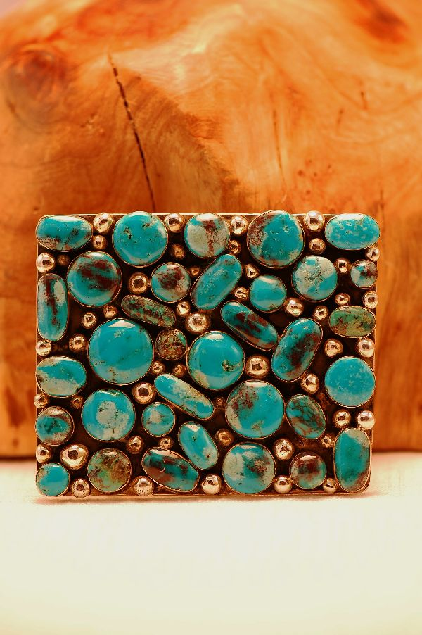Navajo – 35 Stone Blue Gem Turquoise Sterling Silver Belt Buckle by Lucy Cayatineto