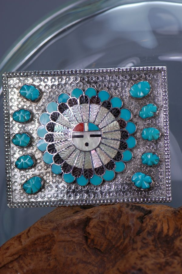 Zuni – Edward and Pablita Quam Sterling Silver Inlaid Sunface Belt Buckle