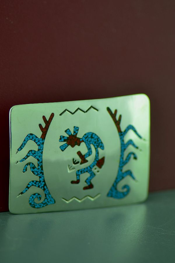 Navajo Small Sterling Silver Chip Inlay Turquoise and Coral Kokopelli Belt Buckle by Kee Begay