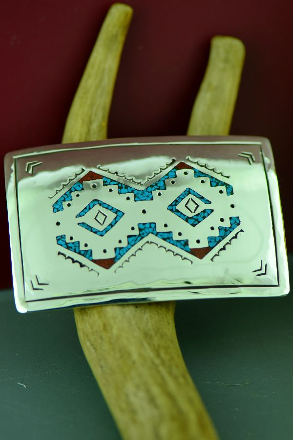 Navajo – Sterling Silver Chip Inlay Turquoise and Coral Rug Pattern Belt Buckle by Kee Begay