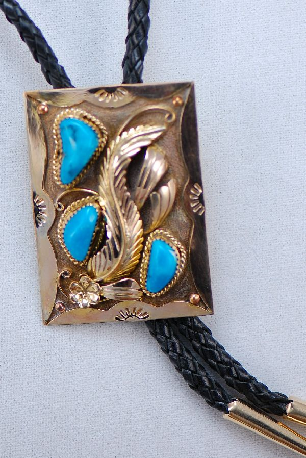 Navajo – 12ktGF over Sterling Silver Turquoise Buckle and Bolo Tie Set