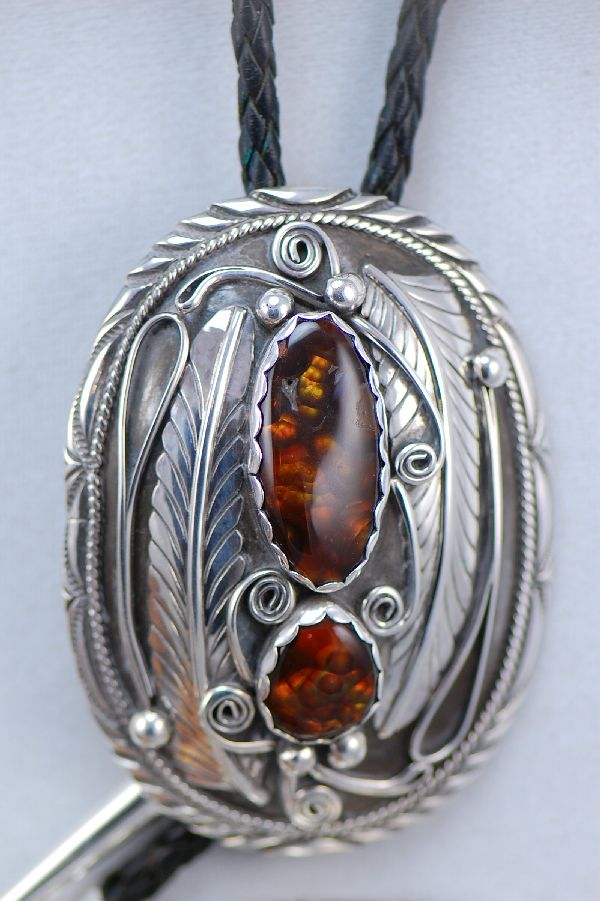 Navajo Sterling Silver Slaughter Mountain Fire Agate Buckle and Bolo Tie Set by G. Adeky