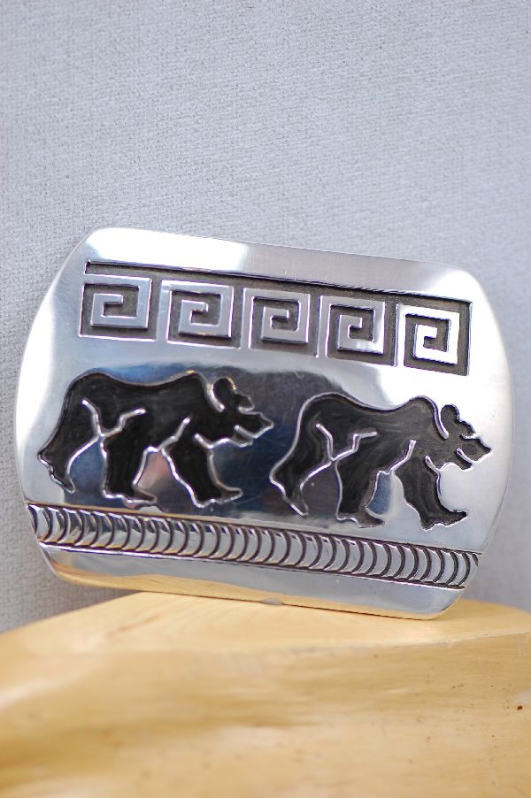 Navajo – Sterling Silver Bear with Water Symbol Buckle and Bolo Tie Set by Rosco Scott