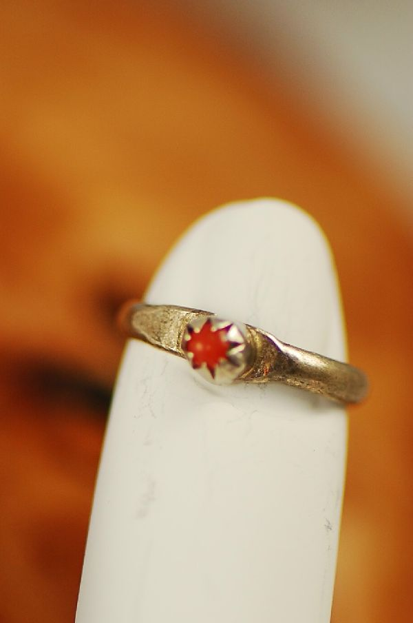 Native American Coral Sterling Silver Baby Ring