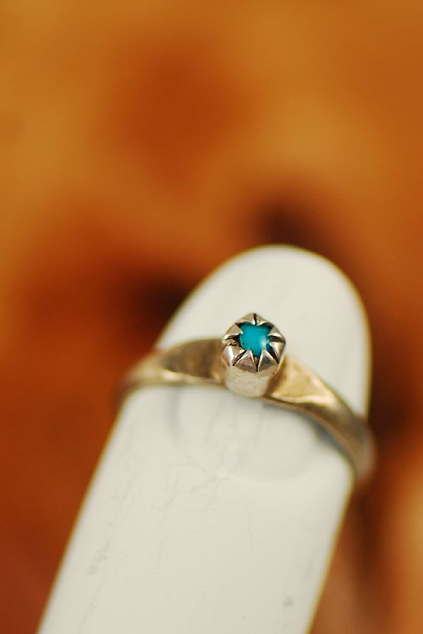 Navajo – Sleeping Beauty Turquoise Sterling Silver Baby Ring