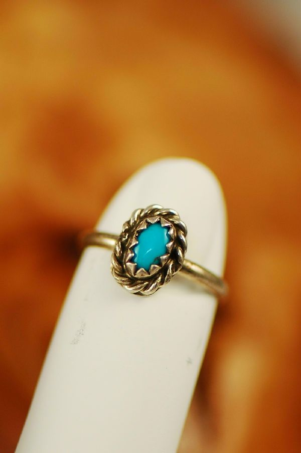 Sleeping Beauty Turquoise Sterling Silver Baby Ring Size 1 - Navajo