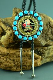 Native American Buckle and Bolo Ties with Gold Jewelry