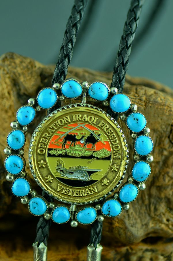 Navajo – Sterling Silver Operation Iraqi Freedom Bolo Tie with Sleeping Beauty Turquoise by Delbert Begay