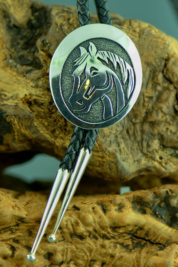 Navajo – Sterling Silver Horse Bolo Tie with Sterling Silver Tips by Tommy Singer
