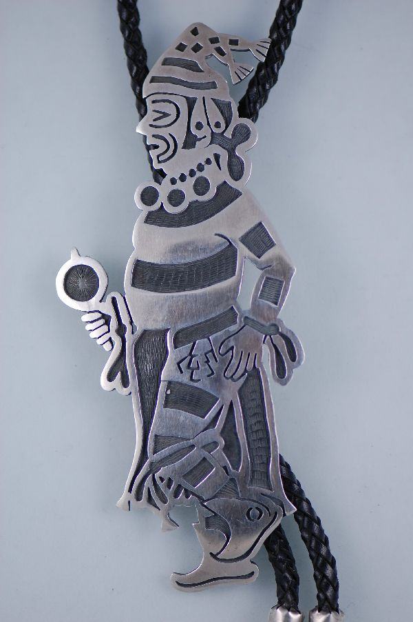 Hopi – Sterling Silver Overlay Koshari Clown Bolo Tie with Sterling Silver Tips by the late Manuel Hoyungowa