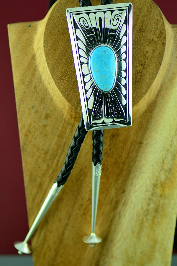 Navajo – Large Sterling Silver Ithaca Peak Turquoise Bolo Tie with Sterling Silver Tips by Richard John