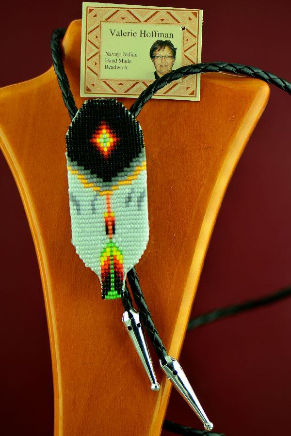 Navajo Prayer Feather Beaded Bolo Tie by Valerie Hoffman