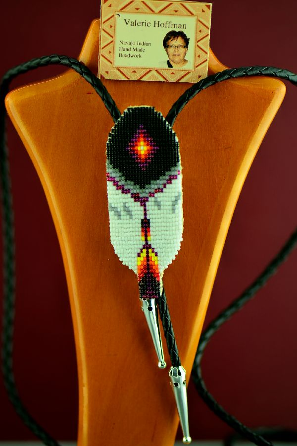 Valerie Hoffman Prayer Feather Beaded Bolo Tie - Navajo