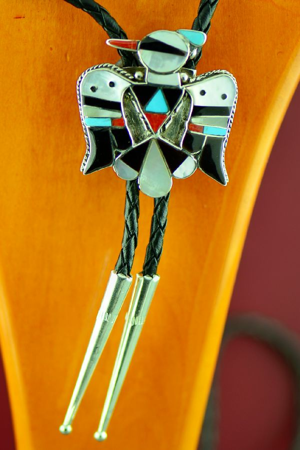 Zuni Sterling Silver Turquoise, Mother of Pearl, Jet, and Coral Inlaid Thunderbird Bolo Tie by Bobby and Corrine Shack