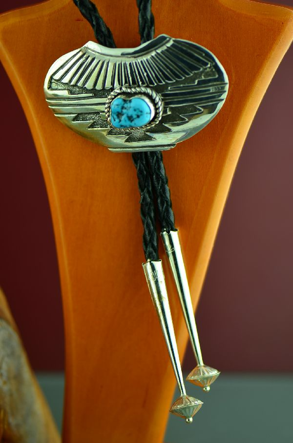 Navajo Exquisite Sterling Silver Sleeping Beauty Turquoise Pottery Bolo Tie by Roger John