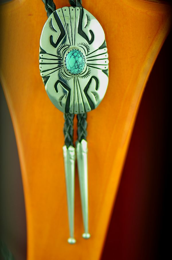 Navajo Sterling Silver Spiderweb Turquoise Bolo Tie by Rosita Singer