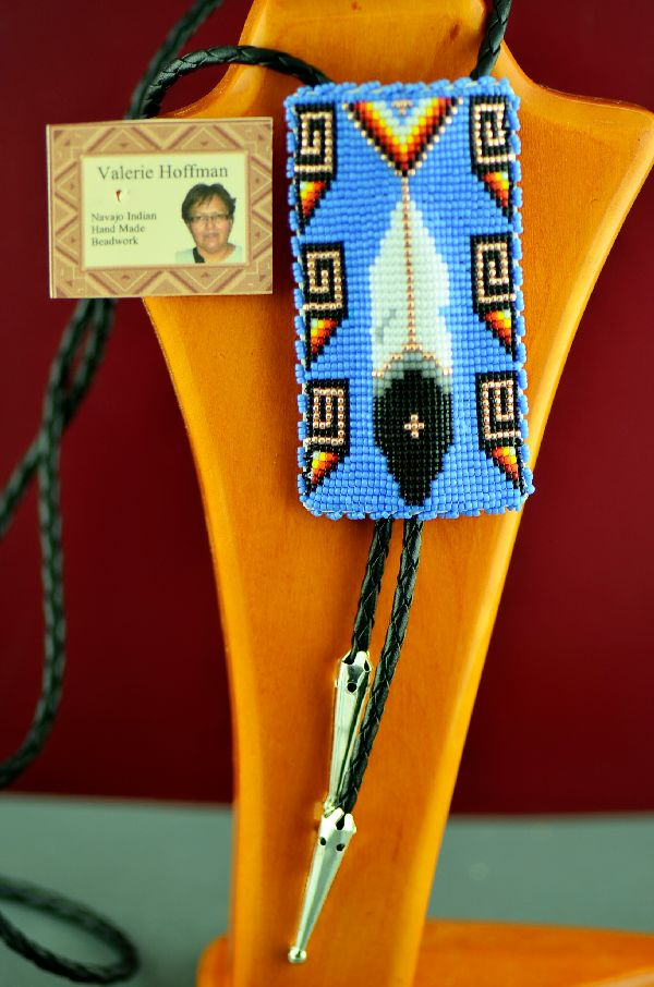 Navajo Beaded Prayer Feather Bolo Tie by Valerie Hoffman