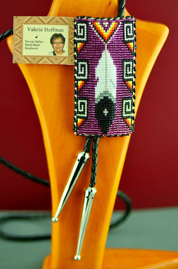 Valerie Hoffman Beaded Prayer Feather Bolo Tie