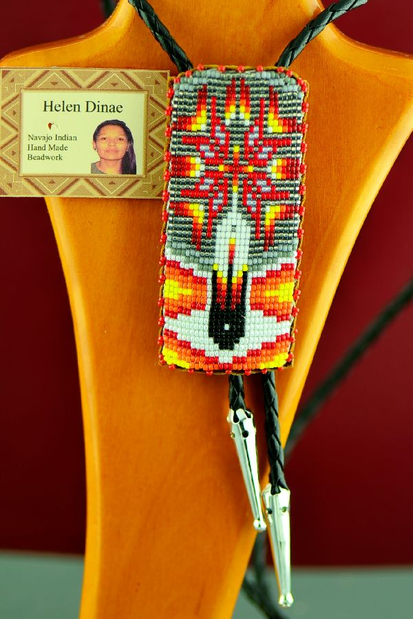 Navajo Prayer Feather and Starburst Beaded Bolo Tie by Helen Dinae