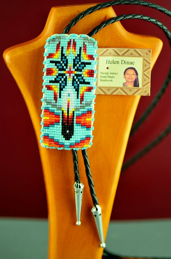 Native American Prayer Feather and Starburst Beaded Bolo Tie by Helen Dinae