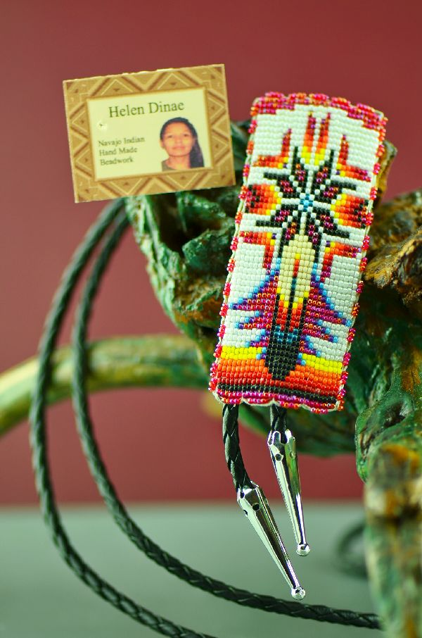 Navajo Beaded Bolo Tie with Prayer Feather and Starburst by Helen Dinae