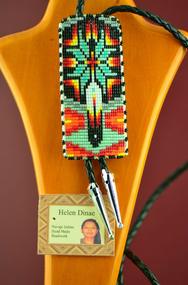 Authentic Navajo Beaded Bolo Tie by Helen Dinae