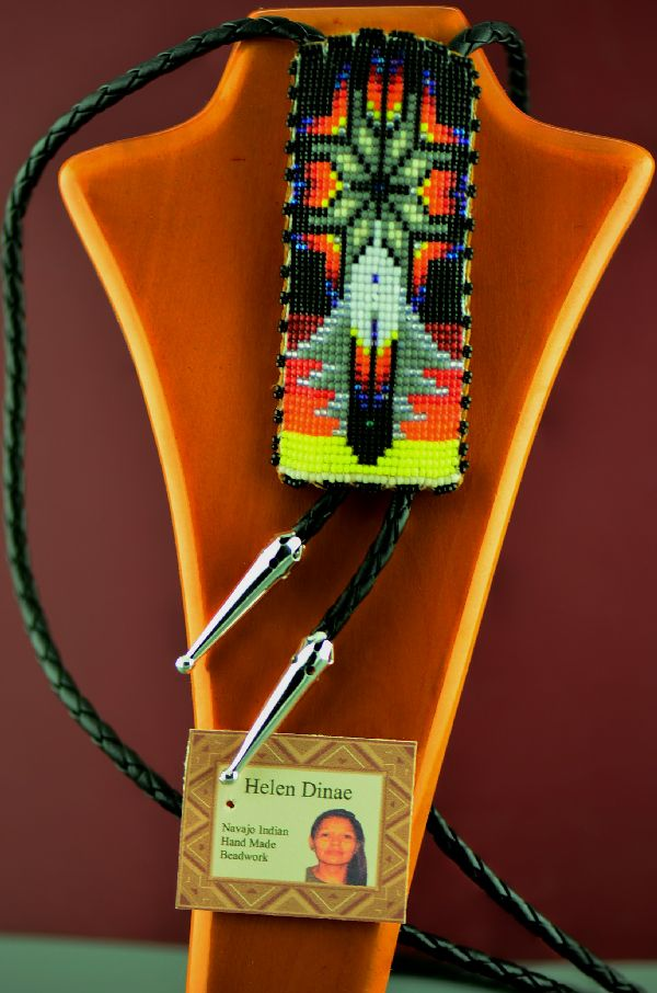 Beaded Navajo Bolo Tie with Prayer Feather and Starburst by Helen Dinae