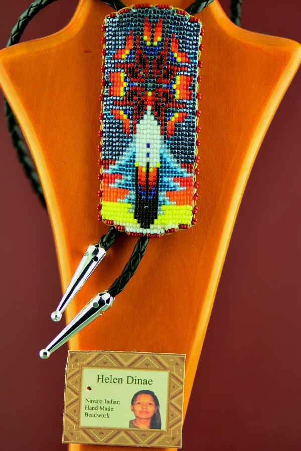 Beaded Bolo Tie with Prayer Feather and Starburst by Helen Dinae