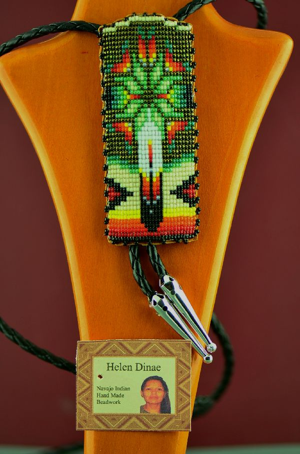 Native American Beaded Bolo Tie with by Helen Dinae