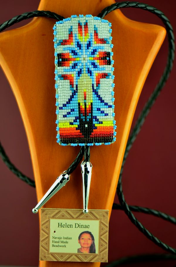 Authentic American Indian Beaded Bolo Tie with by Helen Dinae