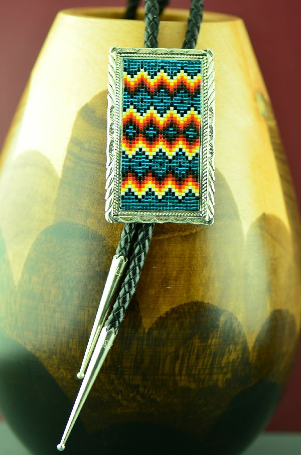 Native American Sterling Silver Beaded Bolo Tie by Lucille Ramone